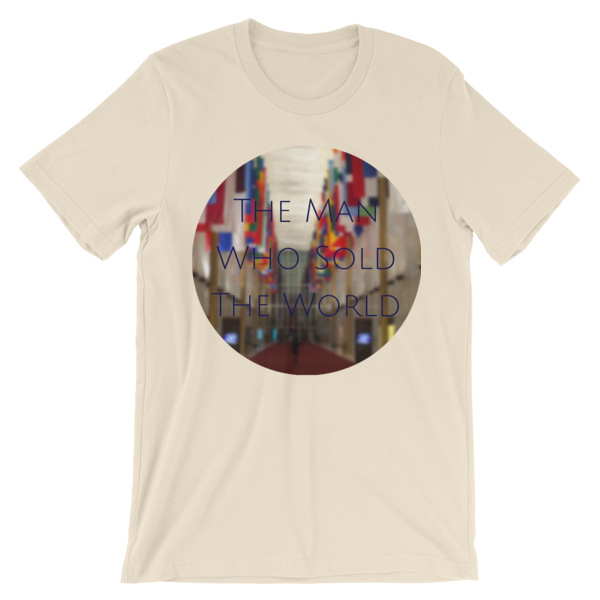"""""""The Man Who Sold the World"""" by David Bowie - photo of The Kennedy Center Hall of Nations by Carla Durham - Photomusicology - cream short sleeve unisex t-shirt"""