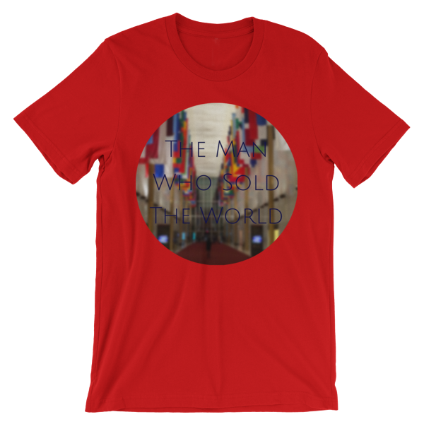 """""""The Man Who Sold the World"""" by David Bowie - photo of The Kennedy Center Hall of Nations by Carla Durham - Photomusicology - red short sleeve unisex t-shirt"""