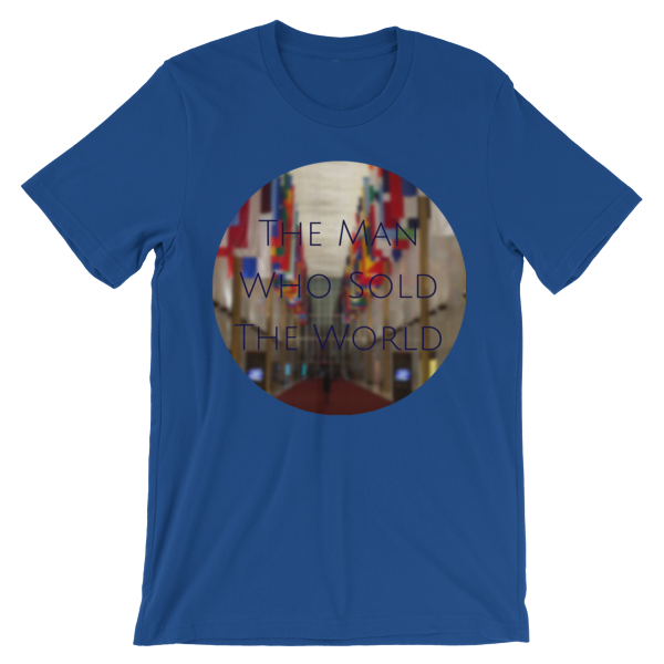 """""""The Man Who Sold the World"""" by David Bowie - photo of The Kennedy Center Hall of Nations by Carla Durham - Photomusicology - royal blue short sleeve unisex t-shirt"""