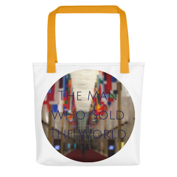 """""""The Man Who Sold the World"""" by David Bowie - photo of The Kennedy Center Hall of Nations by Carla Durham - Photomusicology - tote bag - gold handle"""