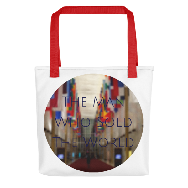 """""""The Man Who Sold the World"""" by David Bowie - photo of The Kennedy Center Hall of Nations by Carla Durham - Photomusicology - tote bag - red handle"""