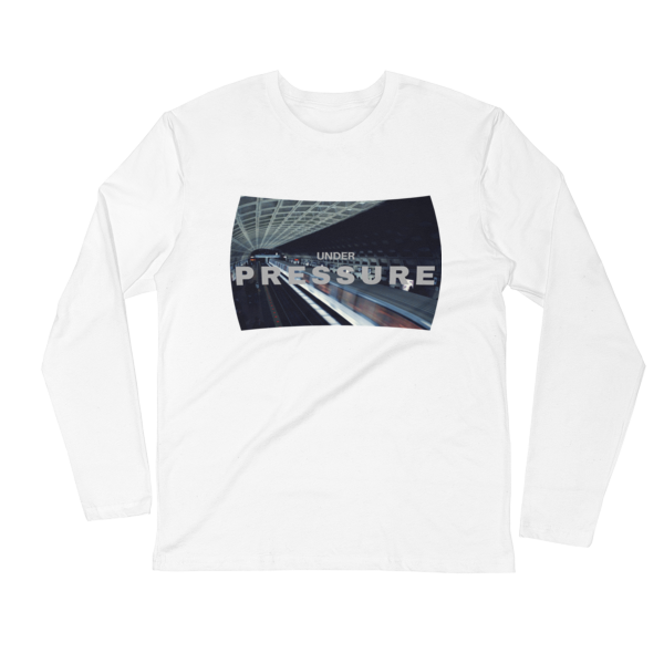 Under Pressure design with photo of Washington, DC metro by Carla Durham; inspired by David Bowie and Queen song - white unisex long sleeve t-shirt